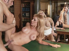 Check out this Orgy in the library with smoking hot chicks
