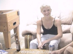 Drunk golden-haired coed loses strip poker and masturbates