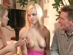 Blond haired cutie Kyle Stone with juicy natural boobs gets seduced by older couple Nicki Charm and Lacey Leveah. She's the babysitter and they have sex fun with her.