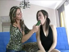 Sweet young girl learns how to blow from a milf