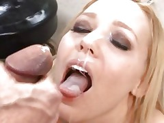 Liv Wylder gets her face blasted with warm schlong juice