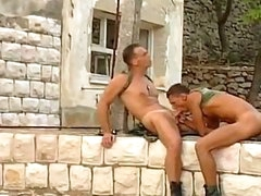 Two hawt and sweet army dudes are pounding and drilling every other
