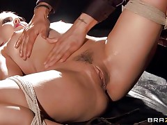 tied up delicious golden-haired massaged