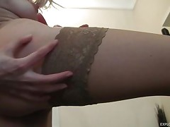 skinny horny blonde chick rubbing her pussy