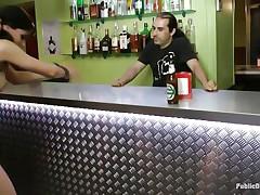 brunette teen goes wild in a pub