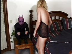 golden-haired honey gets her mouth fucked by a midget gargoyle