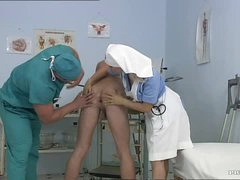Busty Blonde Nurse Kathy Sweet Gets Facialized In a Bisexual Three-some