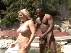 He bends over white milf by the pool