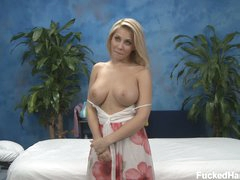 Blonde girl Madison is ready to enjoy massage in her bare skin. But for a start she bares just her perfect big boobs. Her awesome nice size bumpers will turn you on!