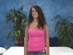 Cute Amber with nice juicy wobblers gets completely naked and gets on massage table withe her face down to enjoys hawt full body massage. This babe demonstrates her private parts with no shame.