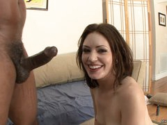 Sarah Shevon gets her face sprayed with hot semen