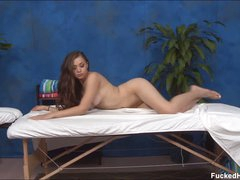 Long haired glamorous brunette girl Tiffany with wet tits and nice ass takes off her bra and pants in flirtatious manner. Hawt bodied hottie is exposed and sexy on massage table.