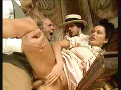 Dudes watch beauty in vintage costume take large cocks