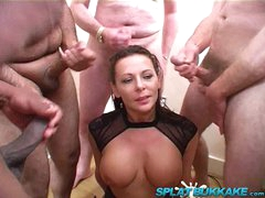 Large tit British milf Carly G debut bukkake