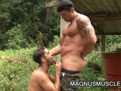 Horny military muscled gay dudes doing some intense training