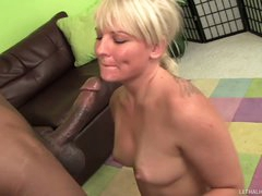 Bikini blonde Casey Cums demonstrates her wicked parts at the poolside previous to she acquires down on her knee in front of well hung skinny black guy to give blowjob. She sucks his chocolate dick passionately.