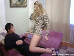 Blonde teen sucks and fucks in high heels