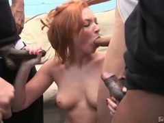 Red head slut vixen vogel sucks down big hard cocks