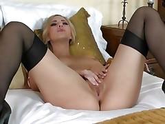 Glamorous Sophia Knight torments her wet moist pussy