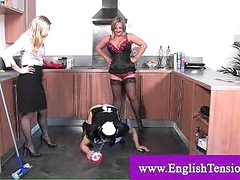 Domina enforced cleaning to sissy guy