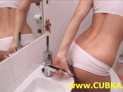 Glamorous blonde dildoing in toilet