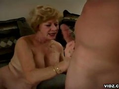 Featuring this unstoppable blonde oldy as she takes in the limelight ater a long time of cock scarcity and see how she grooves in to enjoy those two astounding cocks in one hell of a threesome that you won't dare to forget.