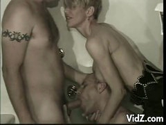 This babe doesn't mind sharing her meat to somebody, even if the third party is a bisexual man whore. See her gorging on her boyfriends cock while this guy fucks her pussy. See them sharing one dick, licking and engulfing alternately until they get satisf