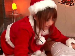 Akiho Yoshizawa gets dressed in santa and surprises horny hunk with deep blowjob session