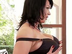 Sexy dark haired babe with large boobies Kora masturbating on camera with her vibrator