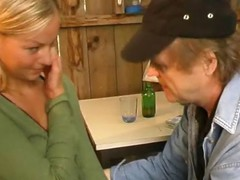 Cute blonde gets licked by older guy, blows him and gets ass fucked