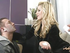 cute blonde dominating a guy