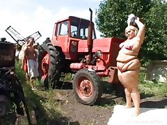 overweight blonde farmgirl has threesome