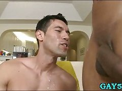 Hawt gay stud loves to get facial