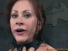 Gagged and fastened up sweetheart is whipped ferociously