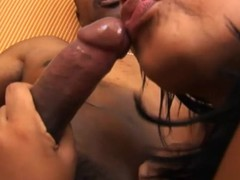 Black chick feels enormous large darksome dick in mouth and wazoo