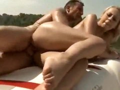 Slut on a boat has great large natural tits