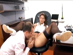 His secretary loves a large boner in her hole
