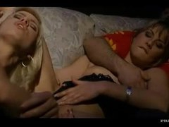 Guy watches 2 hotties in a threesome