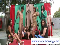 CFNM girls enjoying dudes in swing ready to be blowed off