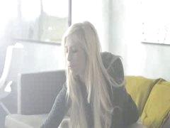 Super hot blonde model rubbing the clit
