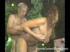 Bulky old guy fucks gorgeous girl outdoors