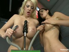 Two well stacked lesbian beauties Courtney Taylor and Kendall Karson give new fucking machines a try. They get their wet oiled big tits and pussies banged and vibrated by amazing sex machines.