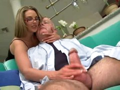 Super sexy girl in glasses screwed by chubby old stud