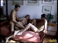 Unshaved box babes fucked in a foursome