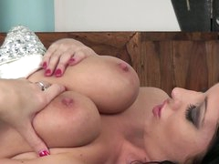 Dark haired leggy babe Lexi Lowe has amazingly hawt big boobs. That babe plays with her juicy jugs before she opens her hawt legs for pussy stroking. Busty Lexi Lowe can't live without to play with herself.