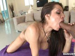 Yurizan Beltran shoves a stiff cock down her throat
