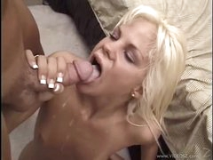 Raunchy Shay Sweet gets her face hole filled with warm cream