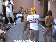 Horny coed chicks have a naked dance off