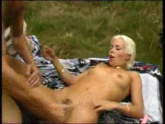Betty using dildo in the woods 2