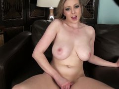 Breasty Sapphire Blue is lonely but horny. She takes off her panties and strokes her juicy pussy hard with her hand. Then big meloned lady takes her new toy!
